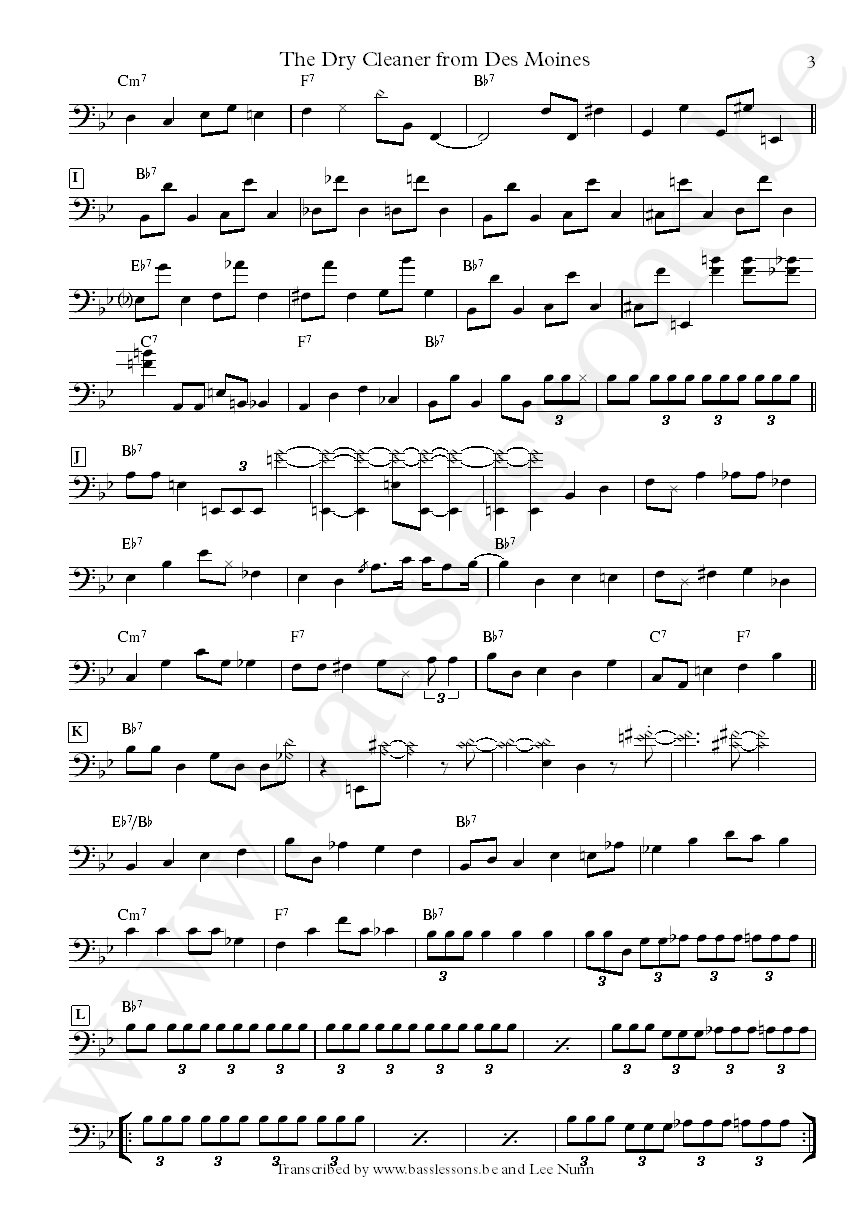Jaco Pastorius the dry cleaner from des :oines bass transcription