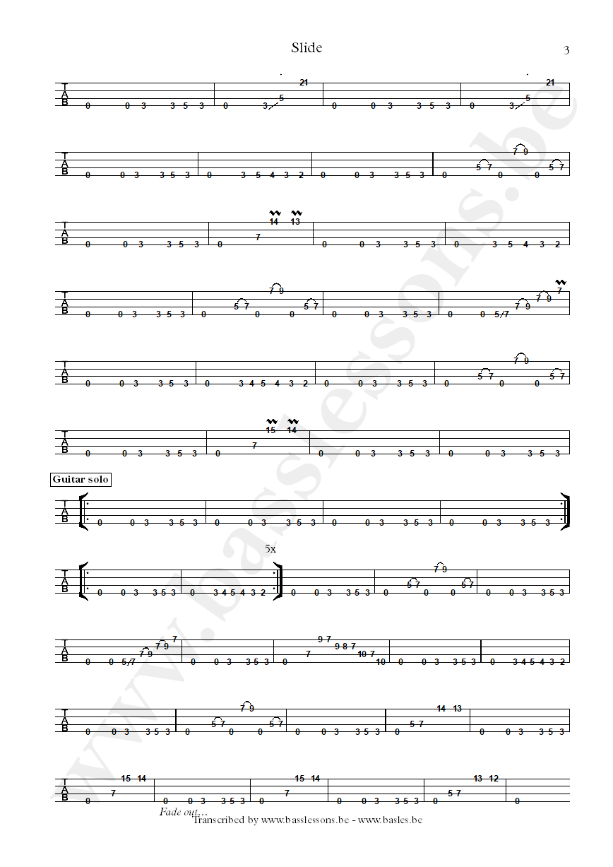 Slave slide bass tab part 3