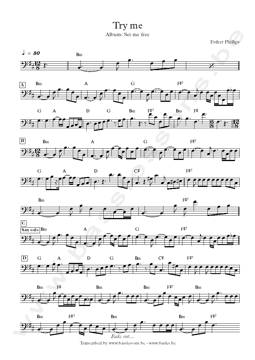 Esther phillips try me bass transcription