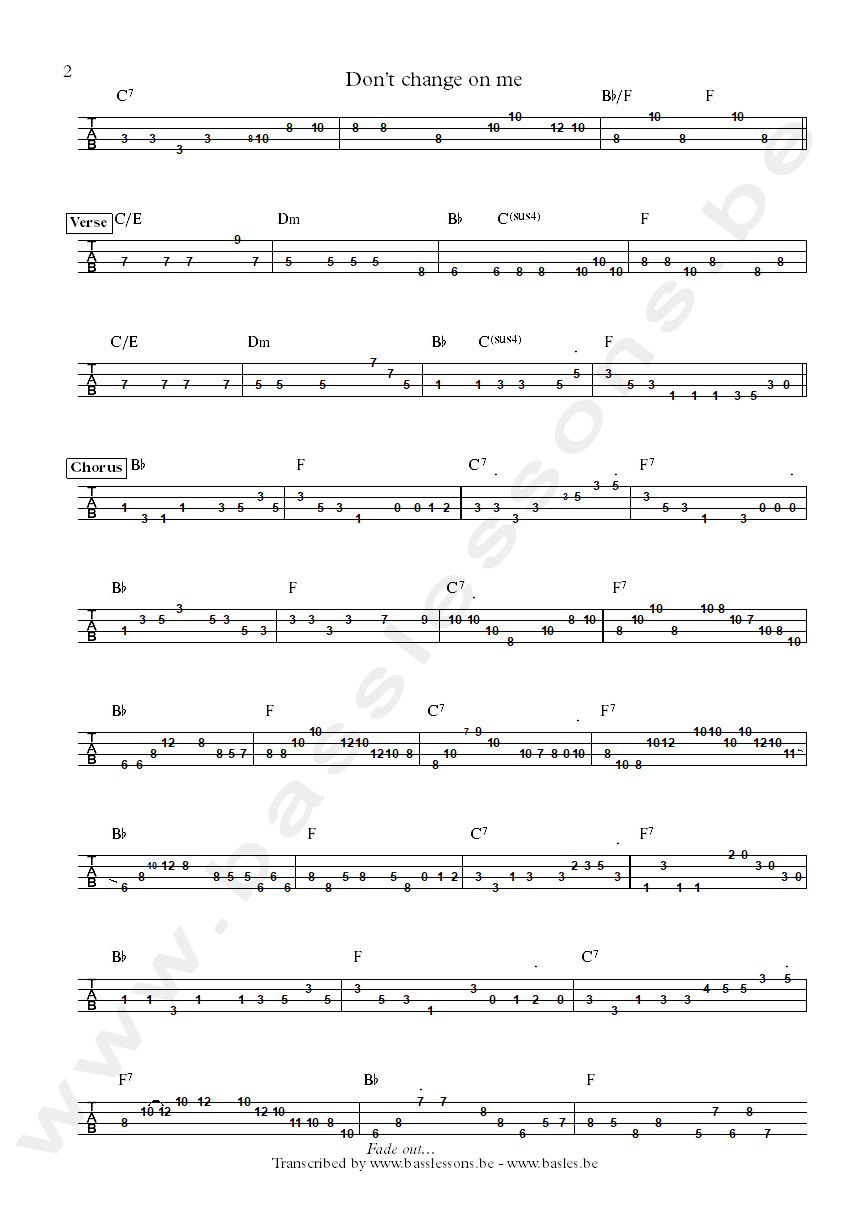 ray charles carol kaye dont change on me bass tab part 2