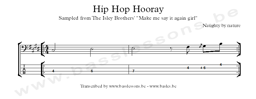 naughty by nature hip hop hooray bass transcription