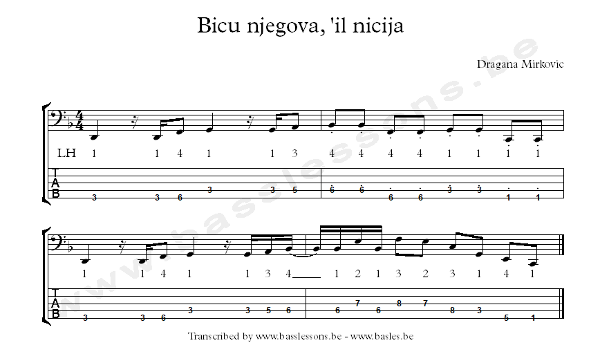 Dragana Mirkovic Bicu njegova bass transcription
