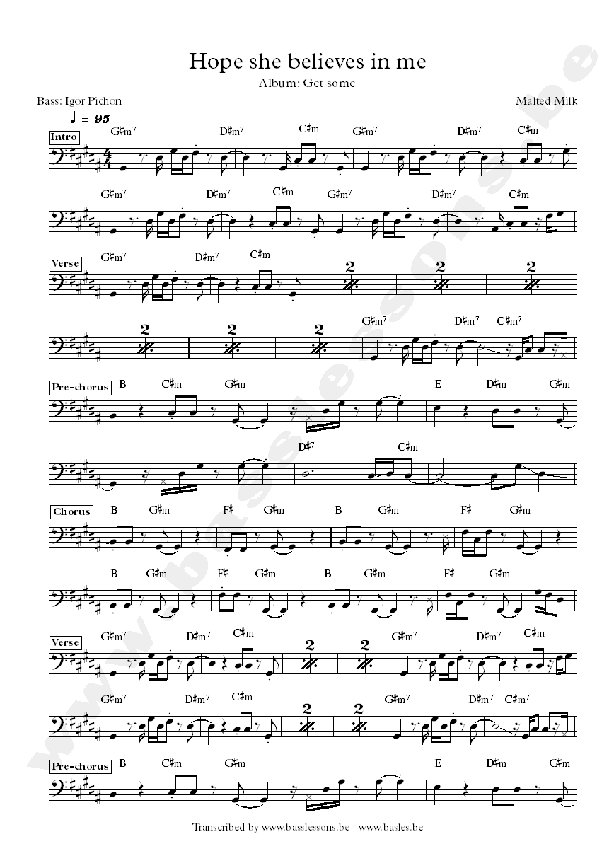 Malted milk hope she believes in me bass transcription