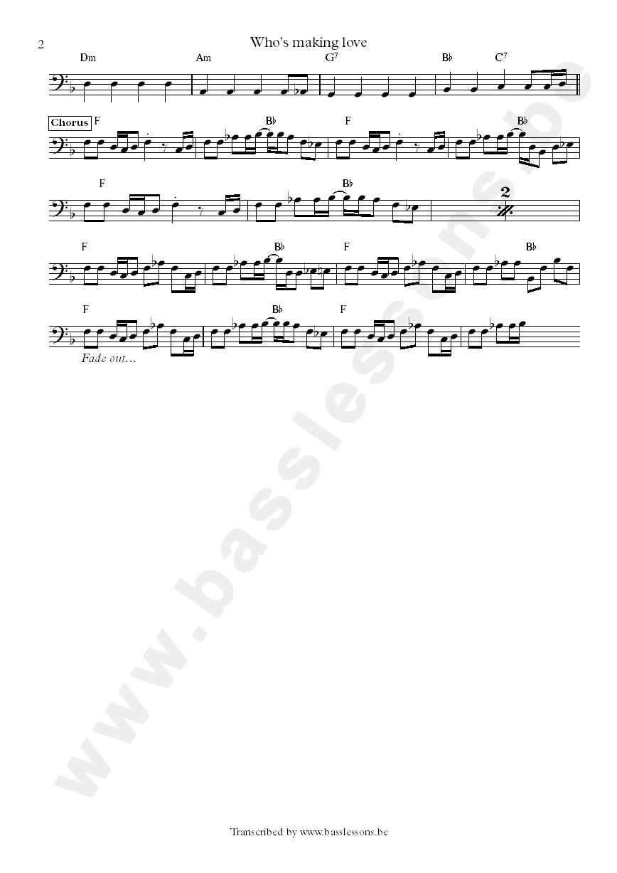 whos making love bass transcription