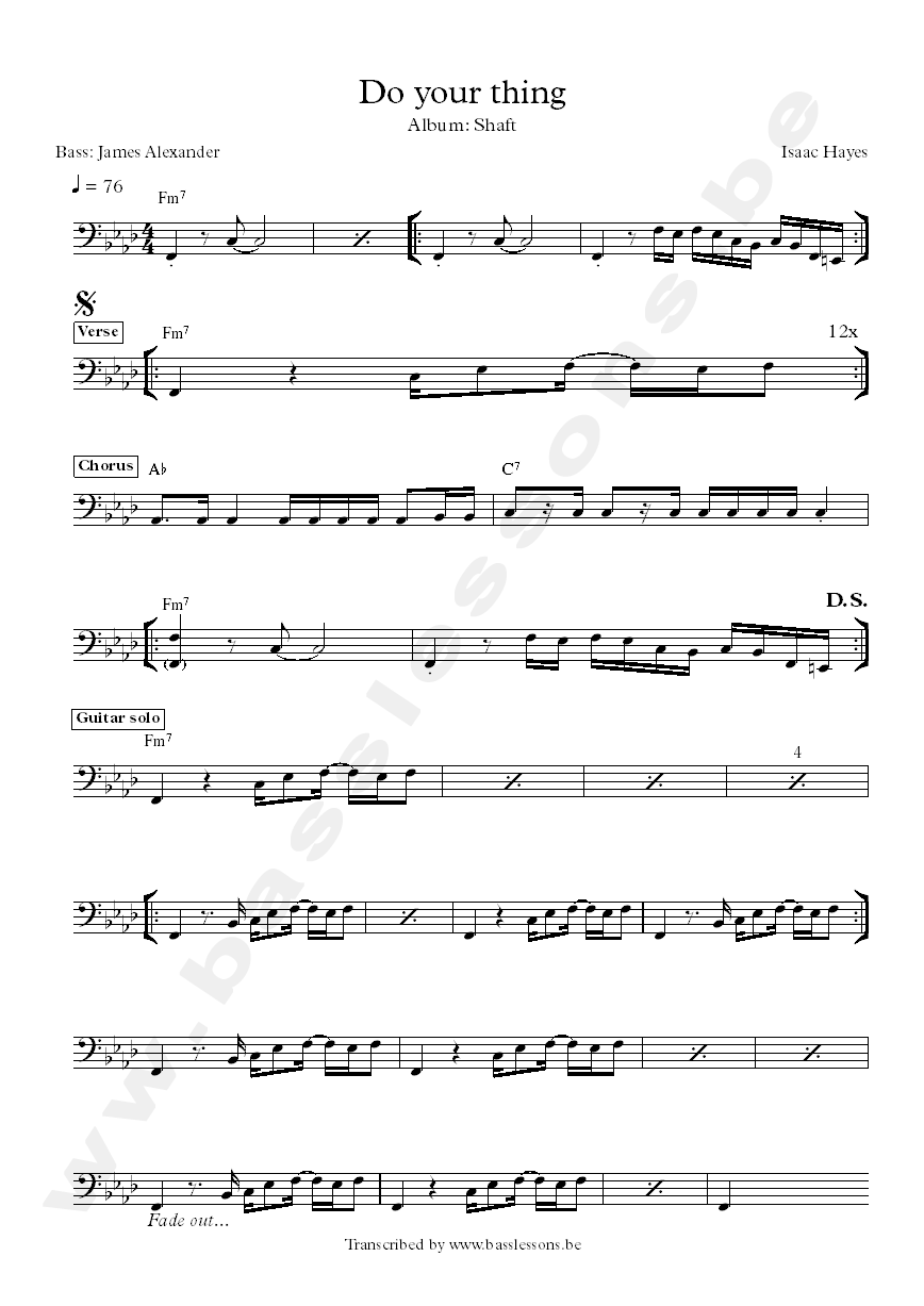 Isaac Hayes do your thing shaft bass transcription