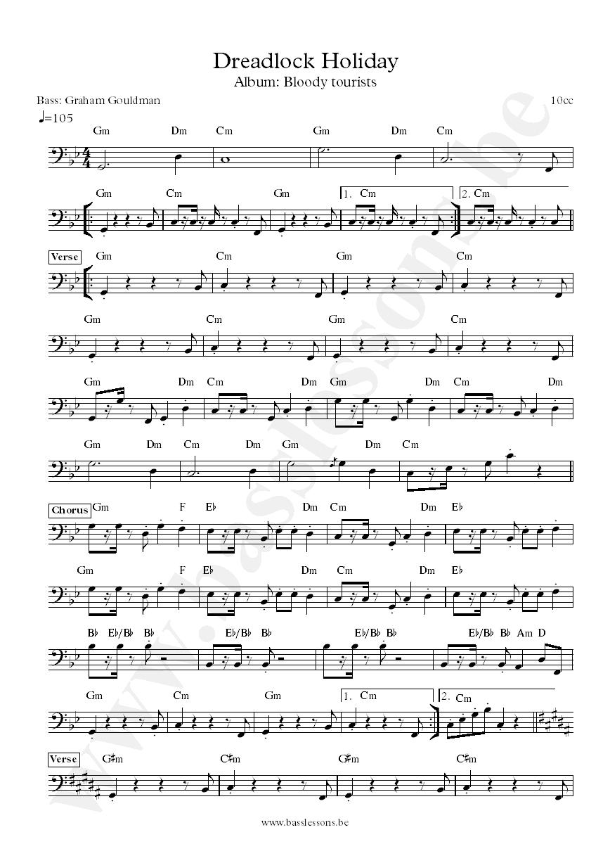 10cc Dreadlock Holiday Bass Transcription Graham Gouldman