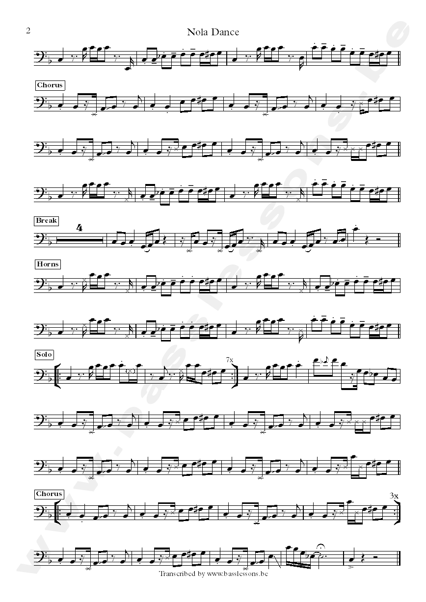 Malted milk nola dance bass transcription part 2