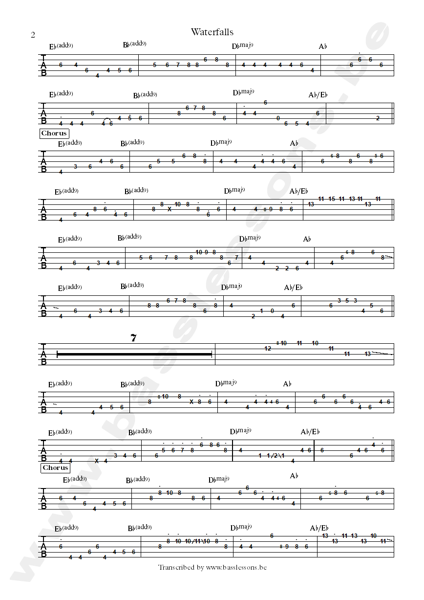 tlc wetrfalls bass tab part 2