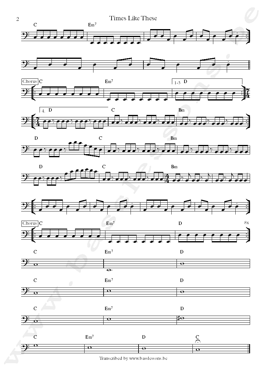 Foo fighters times like these bass transcription part 2
