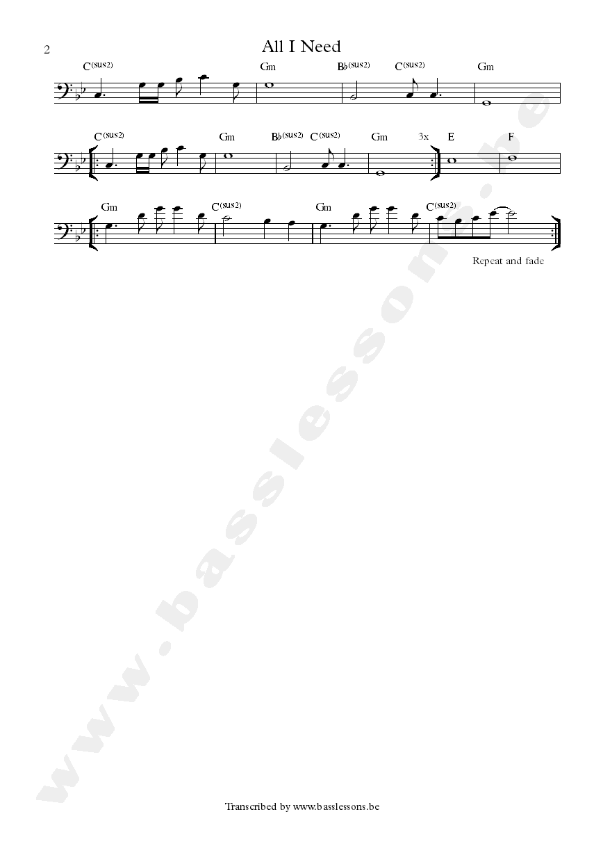 Air all i need bass transcription part 2