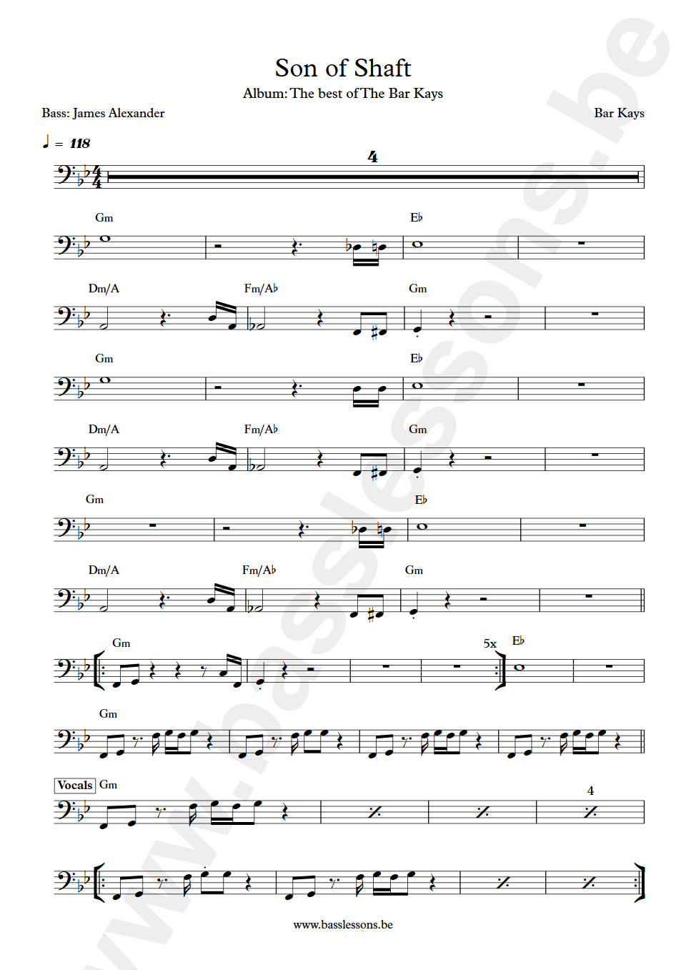 the bar kays son of shaft bass transcription