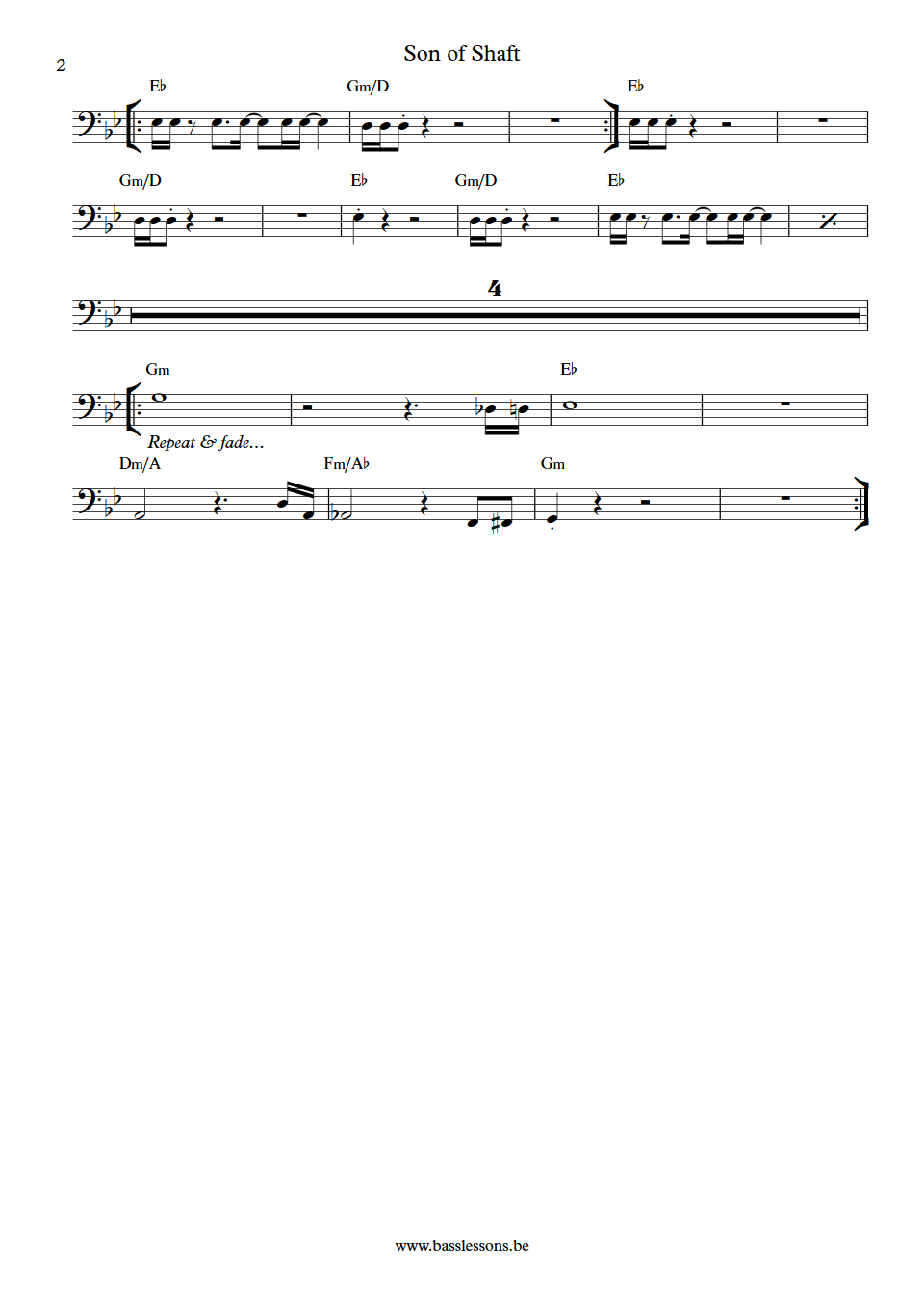 the bar kays son of shaft bass transcription part 2