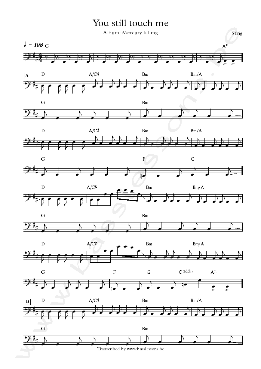Sting you still touch me bass transcription