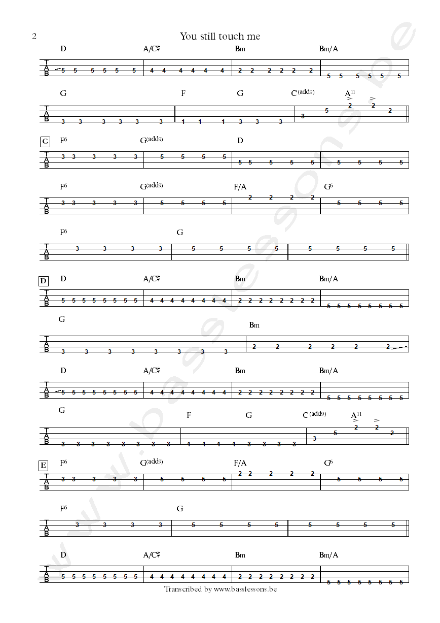 Sting you still touch me bass tab part 2