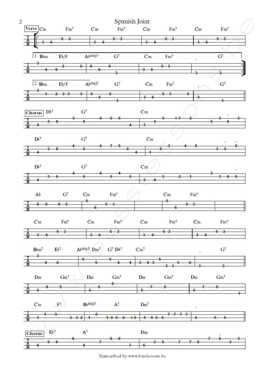 Dangelo spanish joint bass tab part 2