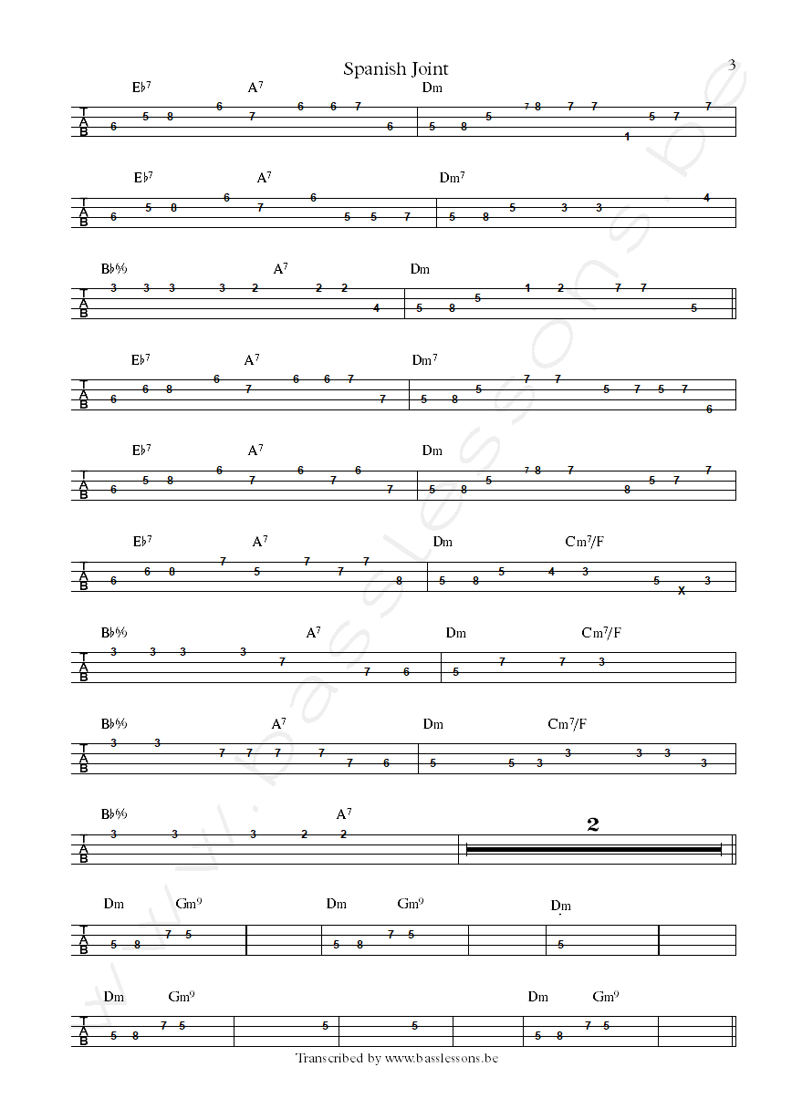 Dangelo spanish joint bass tab part 3