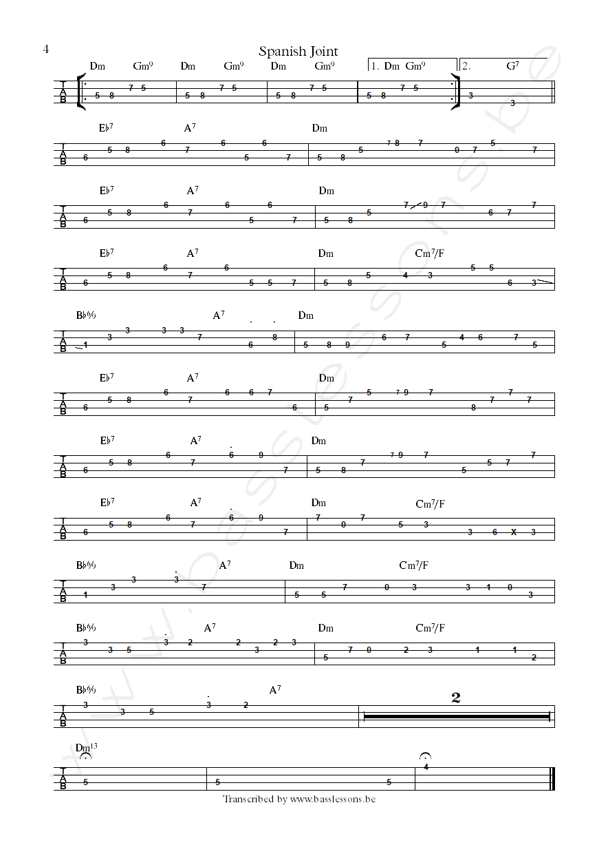 Dangelo spanish joint bass tab part 4