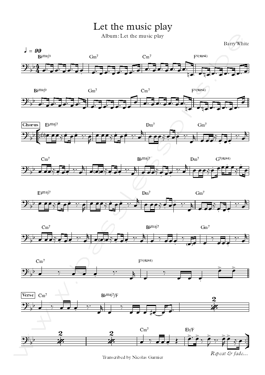 Barry white let the music play bass transcription