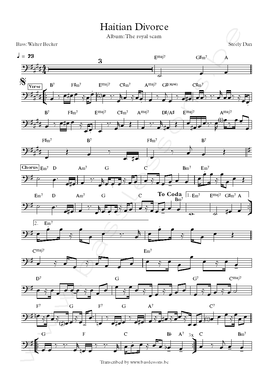 Steely dan haitian divorce walter becker bass transcription
