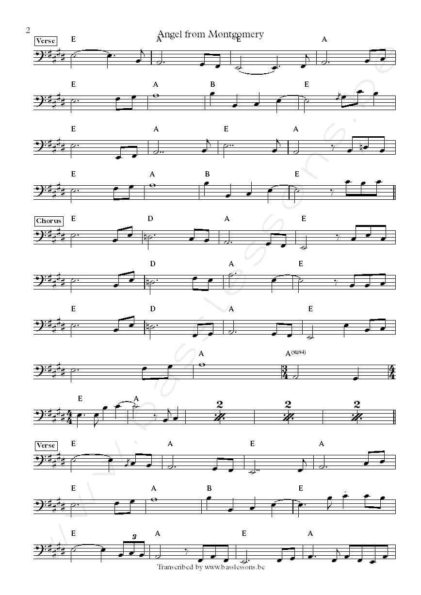 Bonnie Riatt Angel from Montgomery Bob Babbit bass transcription part 2