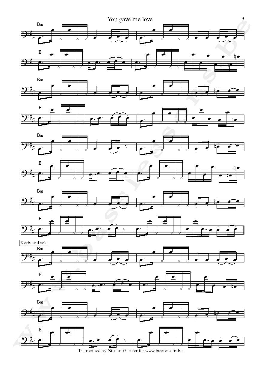 Crown heights affair you gave me love bass transcription part 3