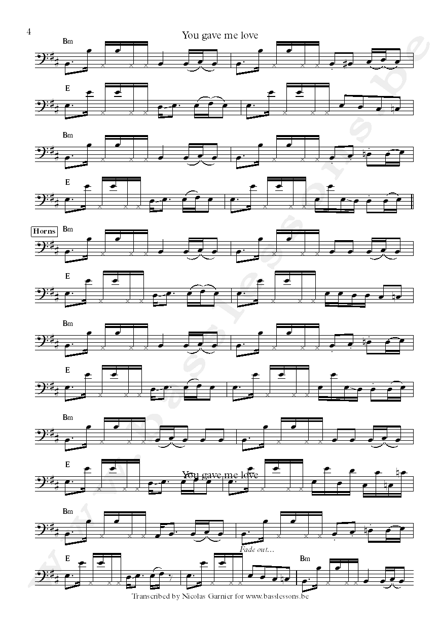 Crown heights affair you gave me love bass transcription part 4