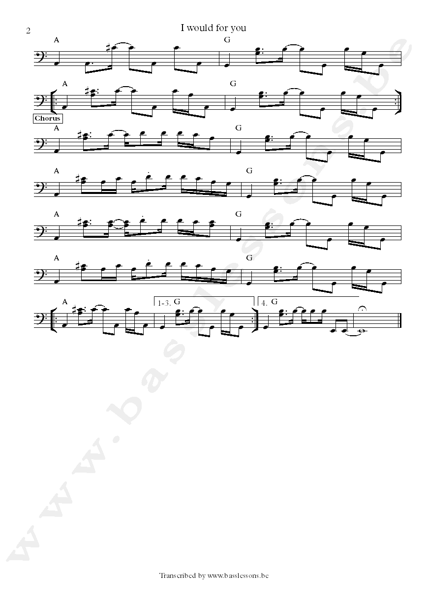 Janes addiction I woulf dor you bass transcription part 2