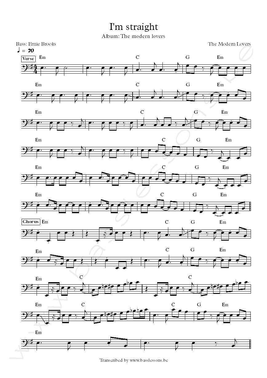 The modern lovers im straight bass transcription