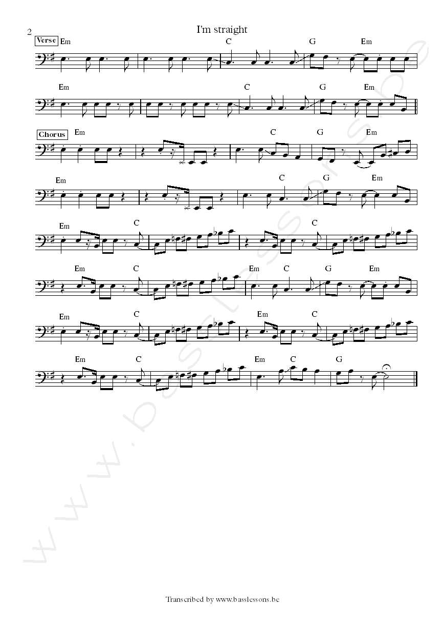 The modern lovers im straight bass transcription part 2
