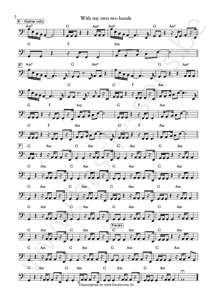 Ben Harper With my own two hands Juan Nelson bass transcription part 2