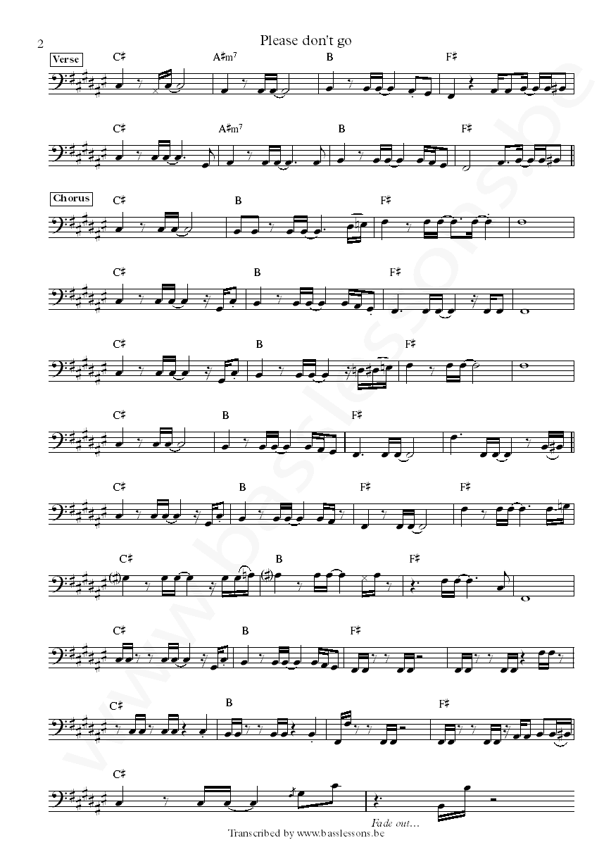 KC and the sunshine band Please dont go bass transcription part 2