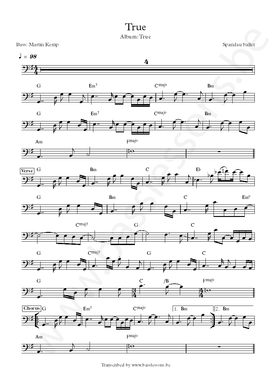 Spandau ballet true bass transcription