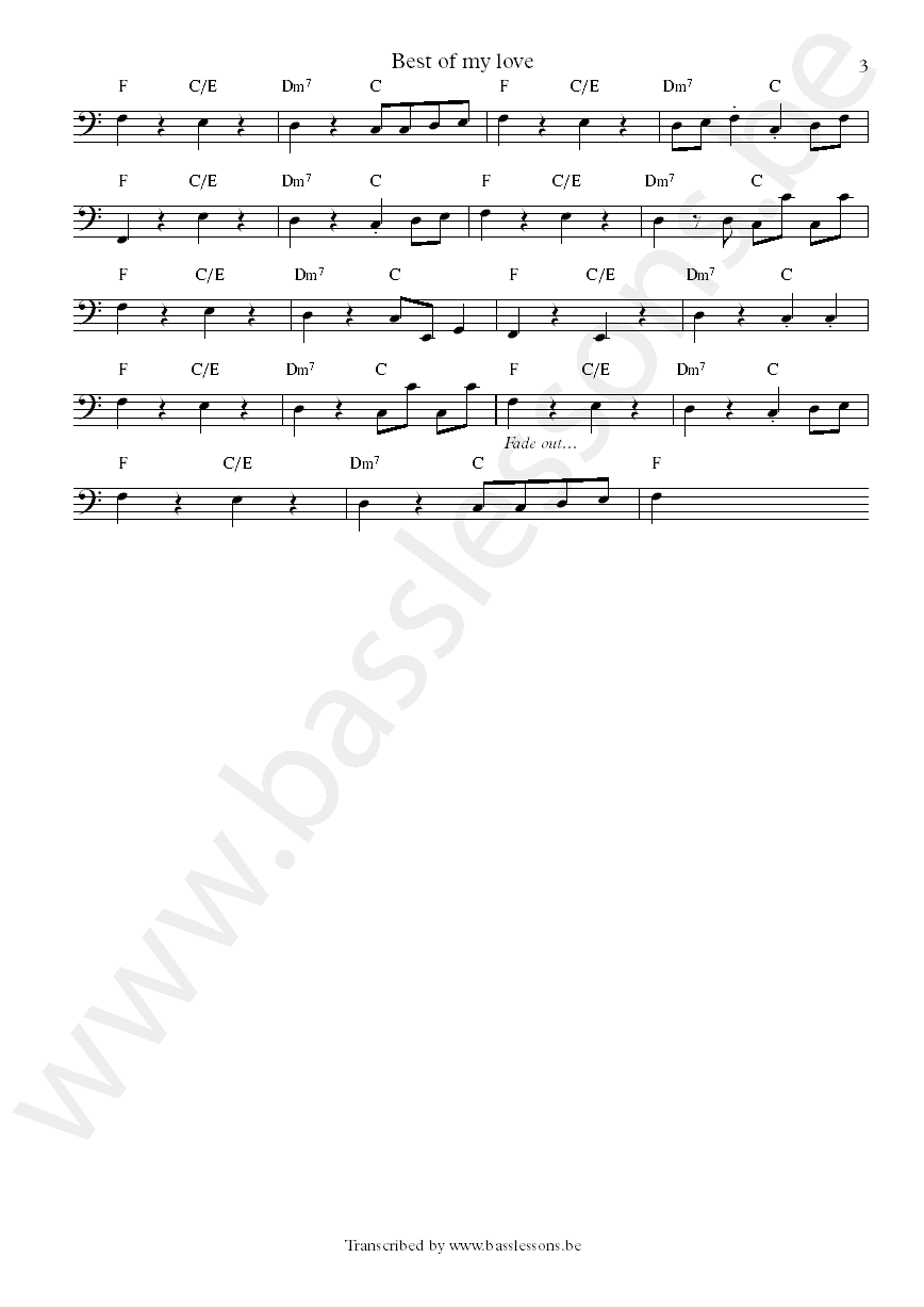 The emotions best of my love Verdine White bass transcription Part 3