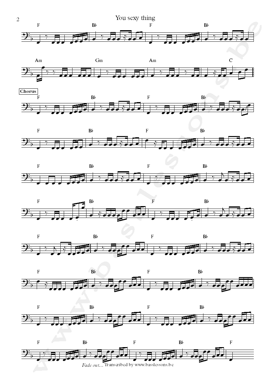 Hot Chocolate You sexy thing bass transcription part 2