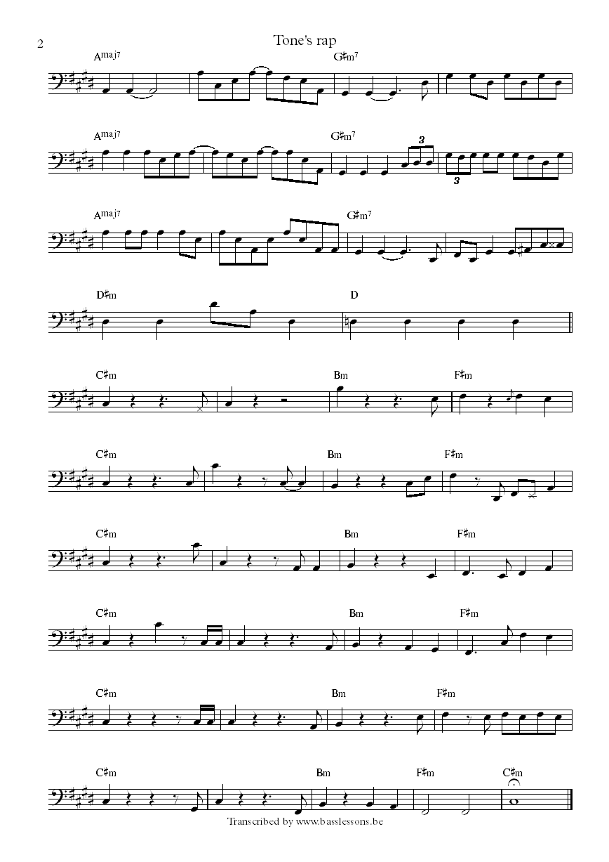 BADBADNOTGOOD ft Ghostface Killah - tones rap bass transcription part 2