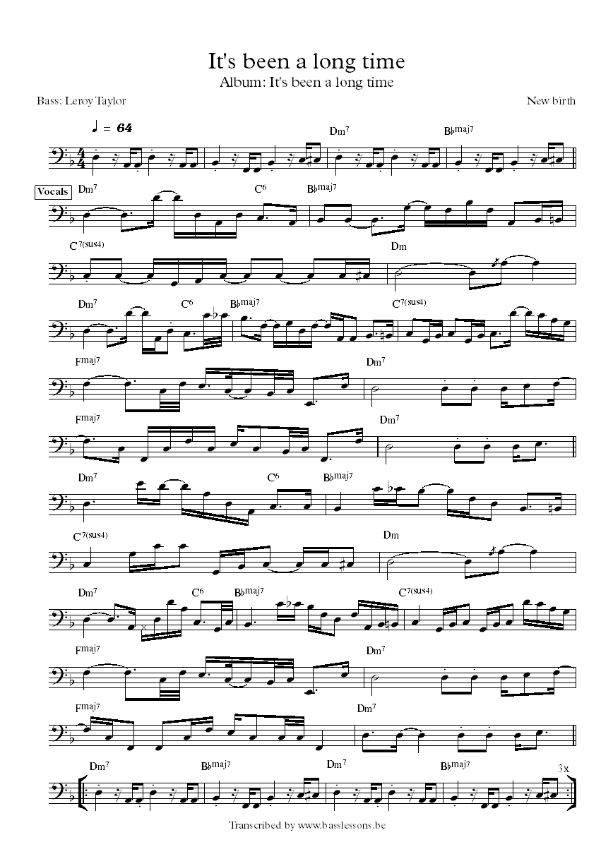 New birth It's been a long time Leroy Taylor bass transcription