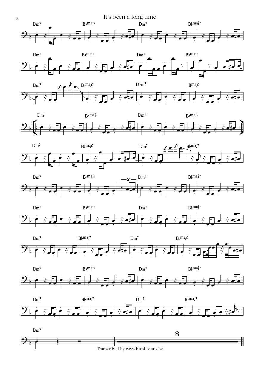 New birth It's been a long time Leroy Taylor bass transcription part 2