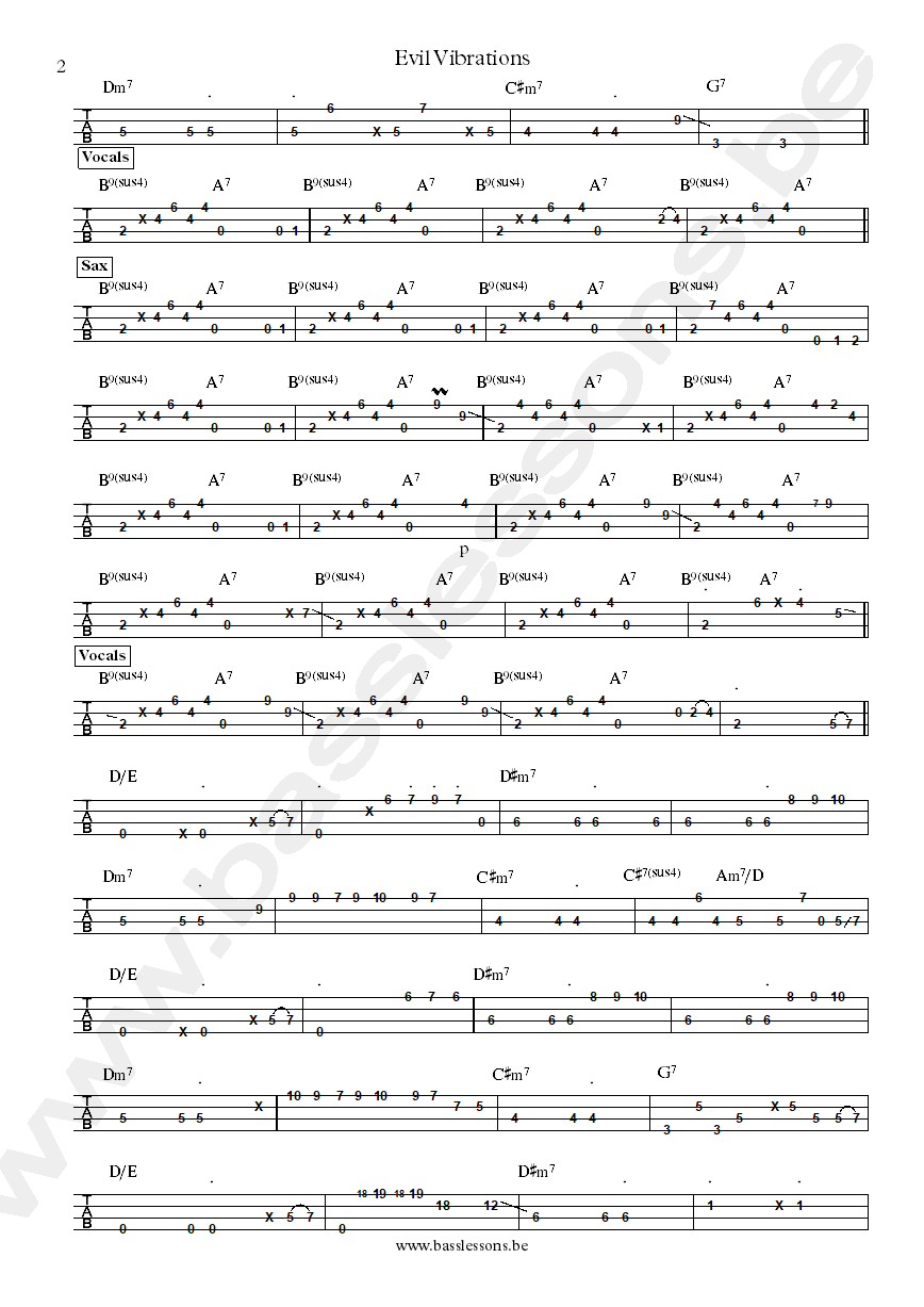 Mighty Ryeders Evil vibrations bass tab part 2