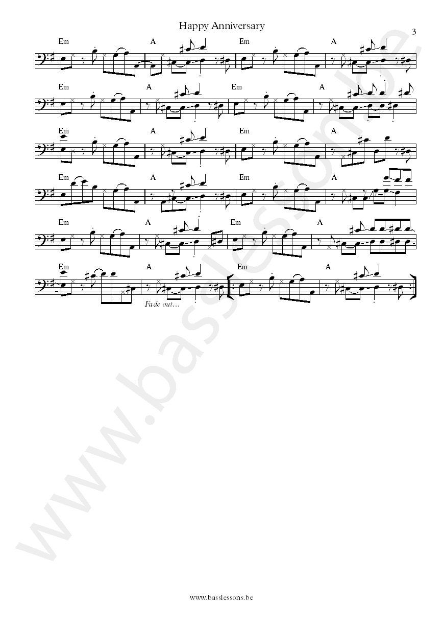 Little Rive r Band Happy anniversary bass transcription part 3