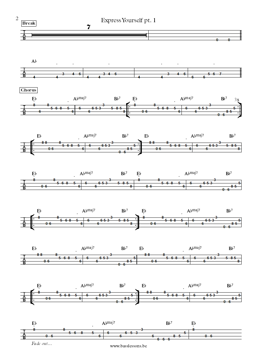 Charles Wright Express yourself bass tab part 2