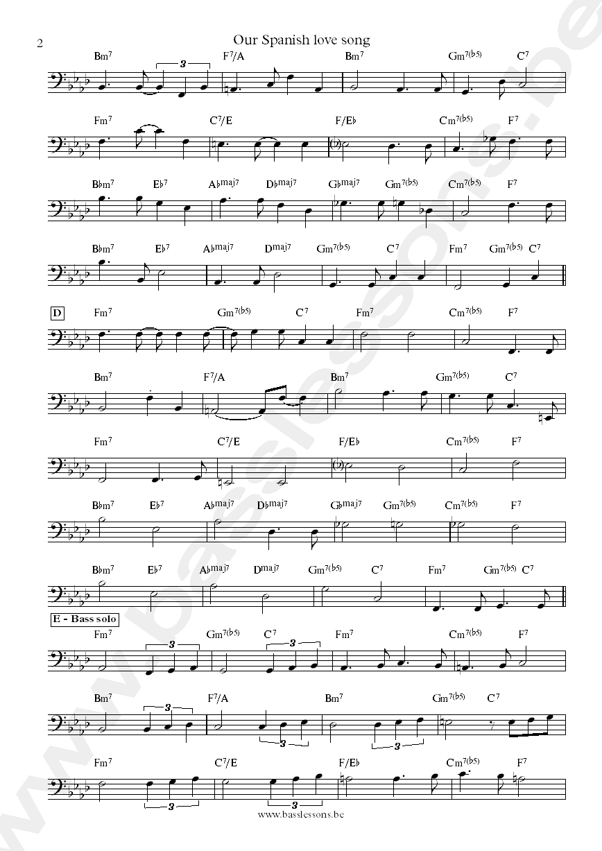 Charlie Haden and Pat Metheny Our Spanish love song bass transcription part 2