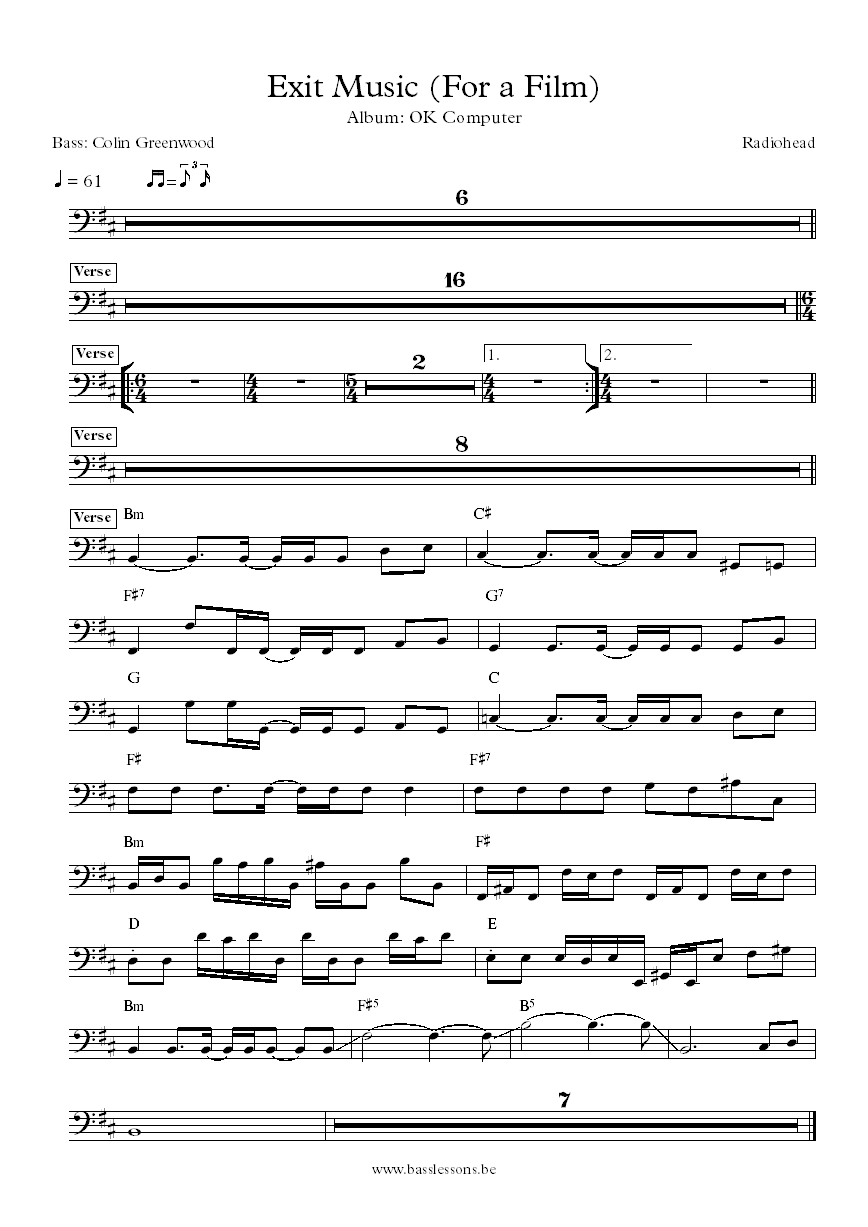 Radiohead Exit Music (For a Film) Colin Greenwood bass transcription