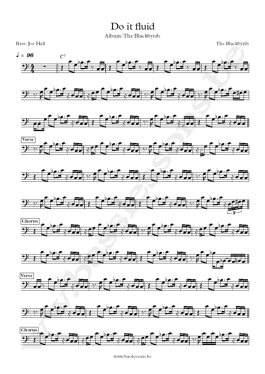 The Blackbyrds Do it fluid Joe Hall bass transcription