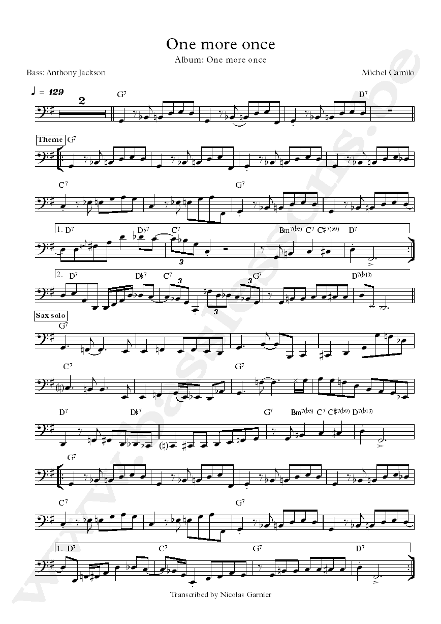 Michel Camilo One More Once Anthony Jackson bass transcription
