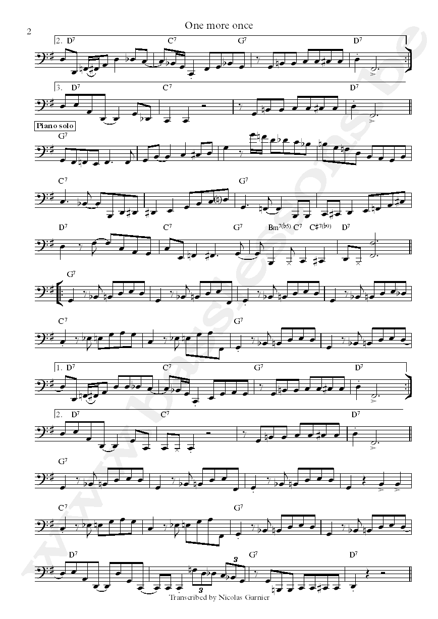 Michel Camilo One More Once Anthony Jackson bass transcription part 2