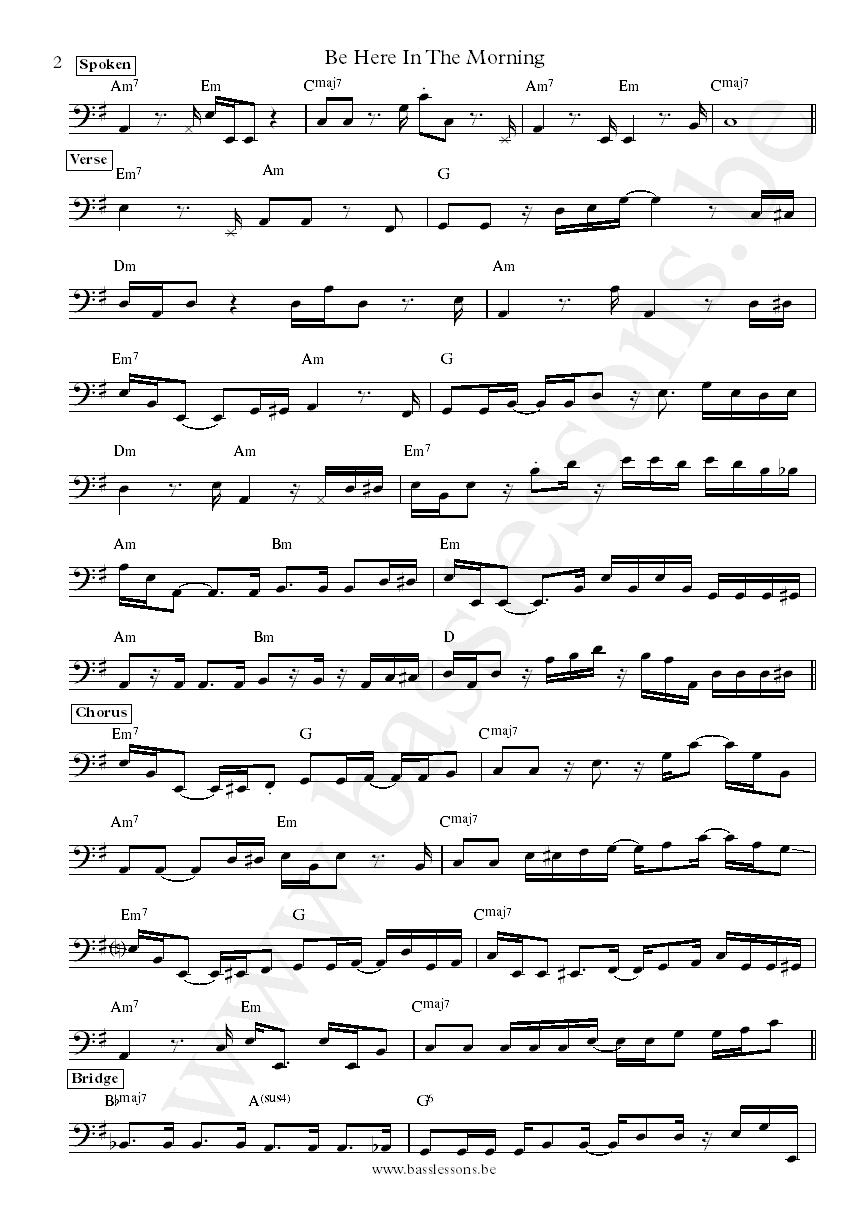 Joy Denalane Be Here In The Morning bass transcription part 2