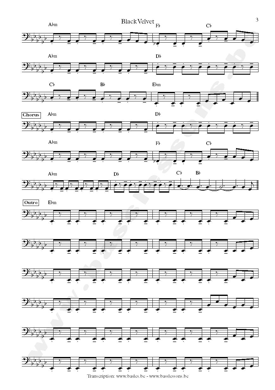 Alannah Myles Black Velvet Bass Transcription Sampled Bass