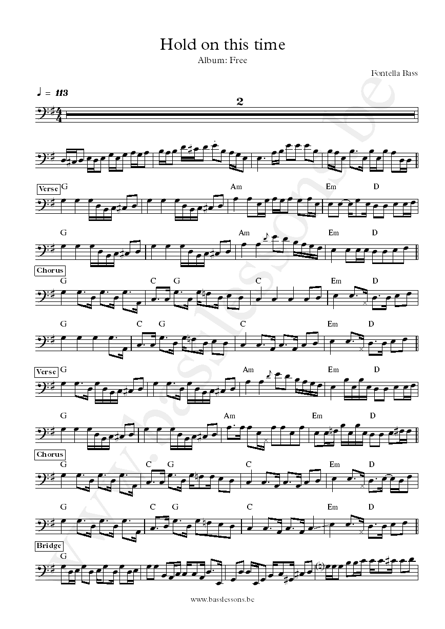 Fontella Bass Hold on this time bass transcription