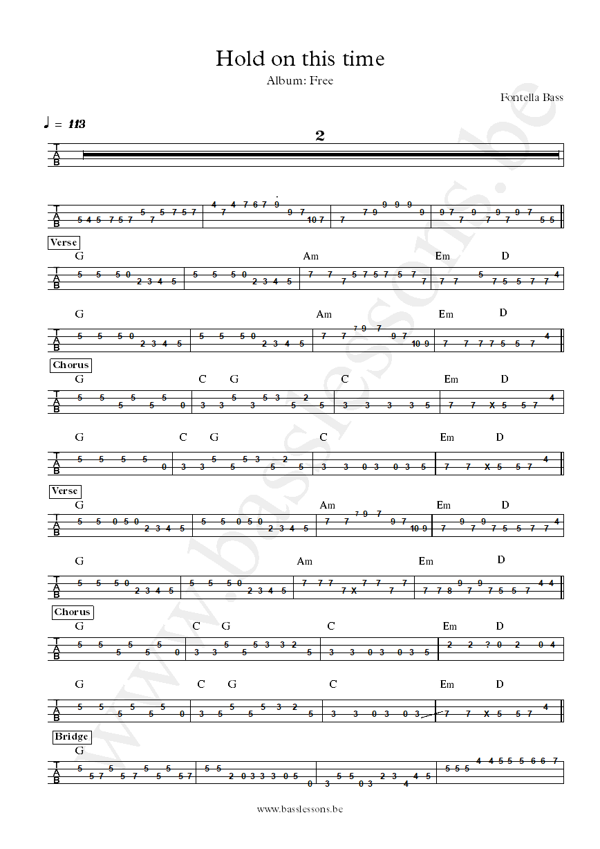 Fontella Bass Hold on this time bass tab