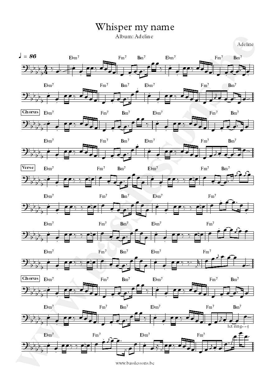 Adeline Whisper my name bass transcription